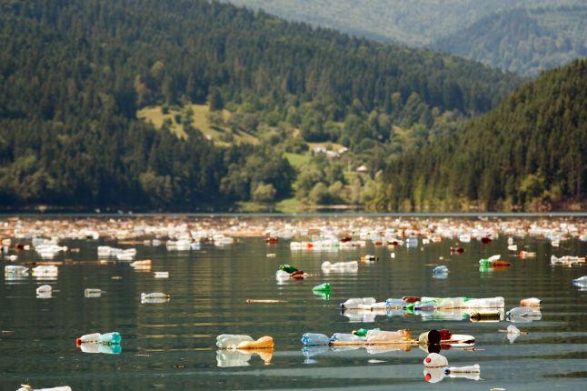 Plastic bottles in lake