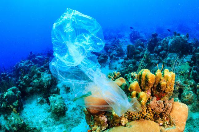 Platic bag under water